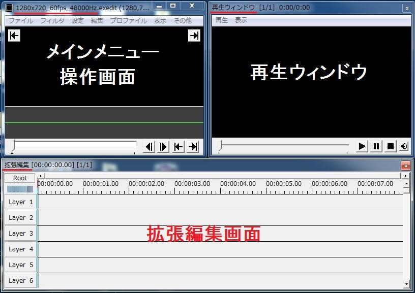 「AviUtl」メインメニューの操作画面・再生ウィンドウ・拡張編集(新規プロジェクト作成後)