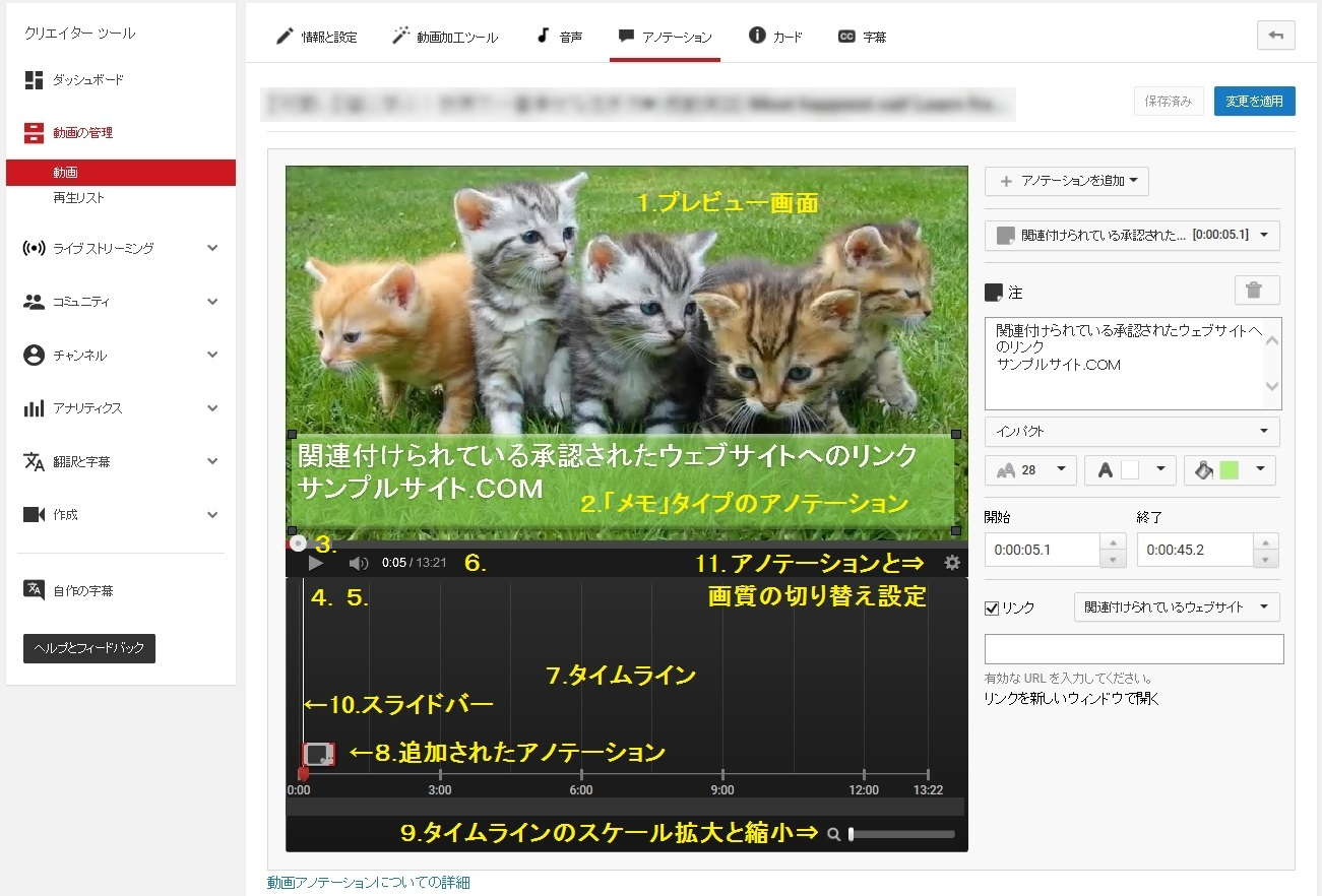YouTube アノテーション設定画面の使い方(機能概要説明)の画面