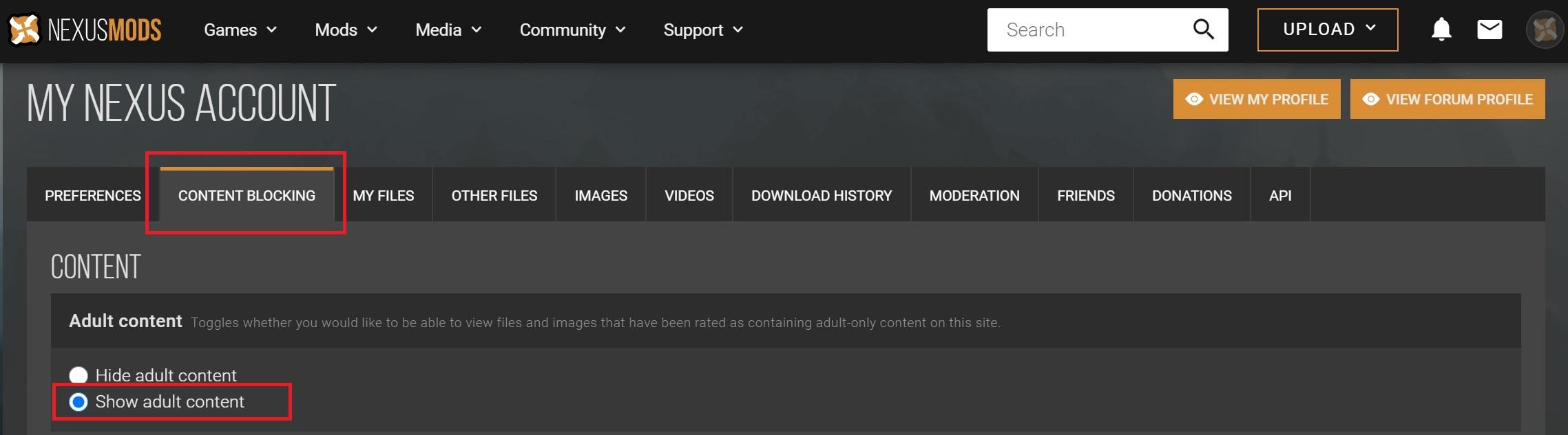 NEXUS_MODS-サイト詳細設定メニューのタブ