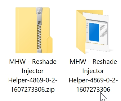 MHW - ReShade Injector Helperのダウンロードした圧縮ファイルと解凍後のファイル